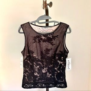 Vintage TO THE MAX Black Lace Sleeveless Top NWT